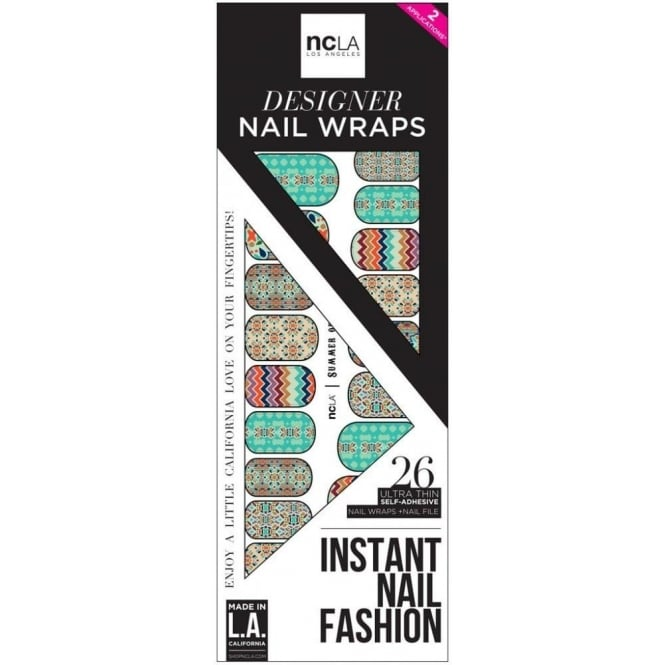ncLA Los Angeles Instant Nail Fashion Designer Nail Wraps - Summer Of Love (26 Wraps)