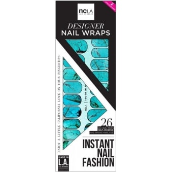 Instant Nail Fashion Designer Nail Wraps - Truth In Turquoise (26 Wraps)