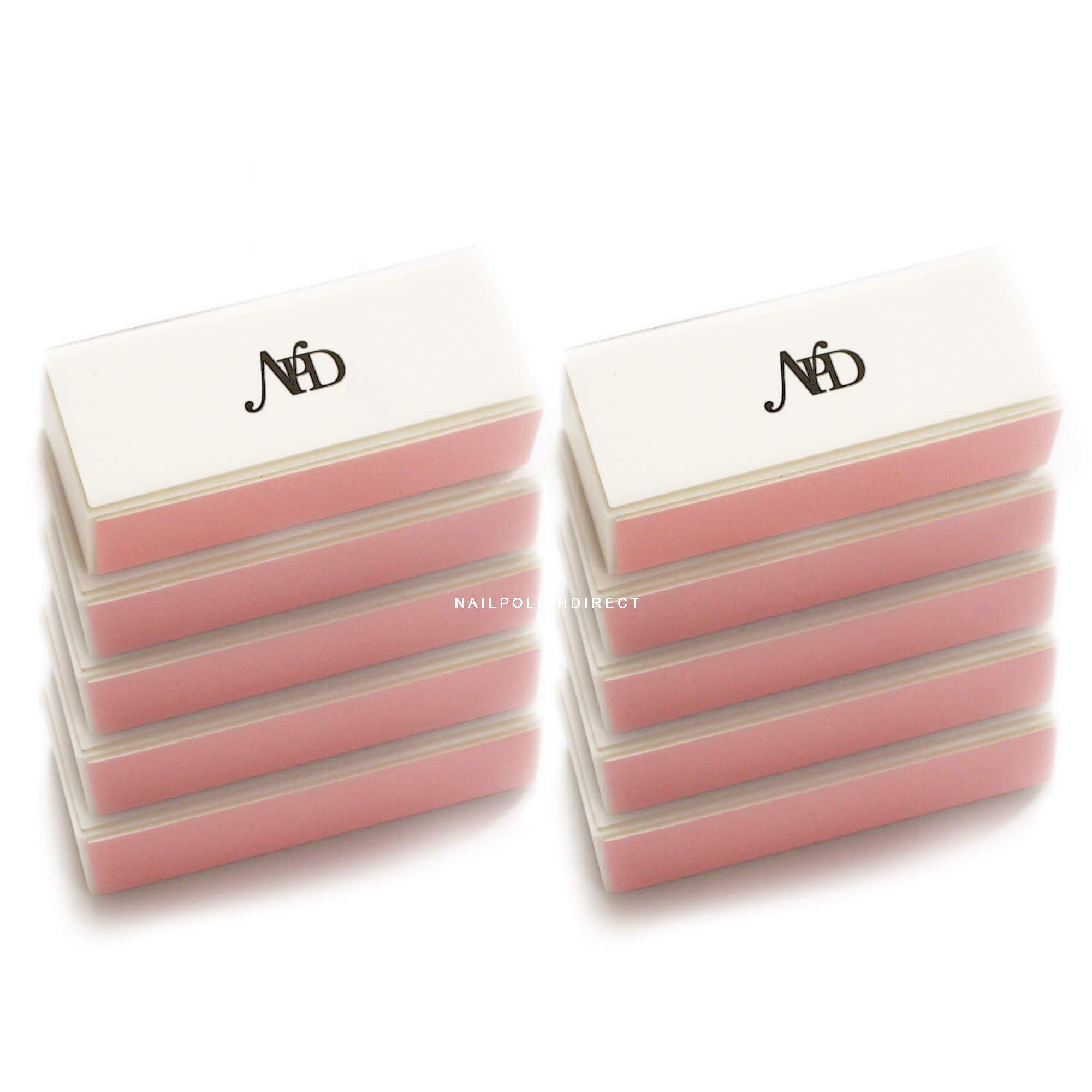 Nail Polish Direct White & Pink 4 Way Block Nail File (Pack Of 10)