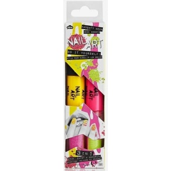 Nail Art Pens 3 in 1 - Naughty Neon Duo Pens