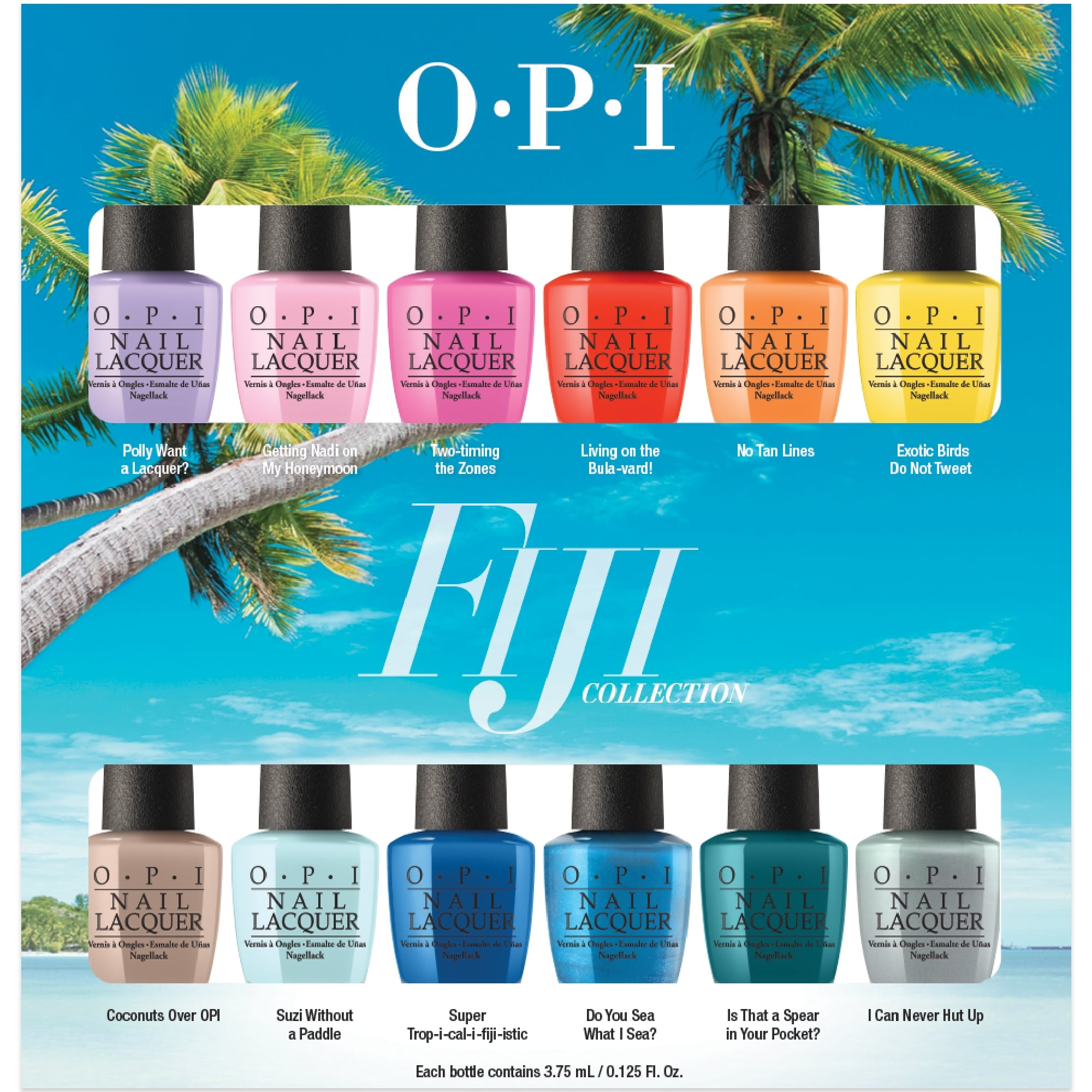 Nice opi nail polish colors list 4 opi nail polish color names list - Fiji Nail Polish Collection 2017 12 Piece Lacquer Set 12 X 3 75ml Opi