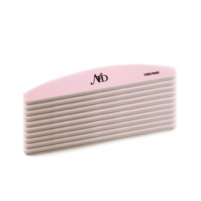 NPD Pink & White Super Shiner Nail File 1000/4000 (Pack Of 10)