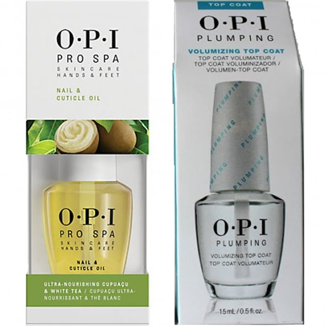 OPI Plumping Volumizing Top Coat & Pro Spa Cuticle Oil Duo (1x 15ml & 1x 14.8ml)