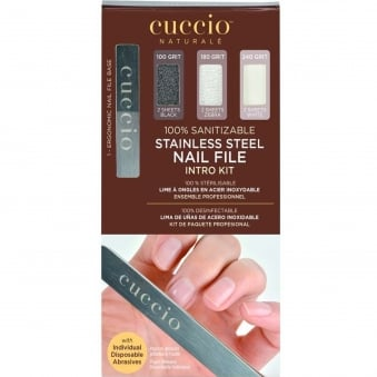 Stainless Steel Nail File - Intro Kit (1 x Ergonomic Nail File) (6 x Sheets)