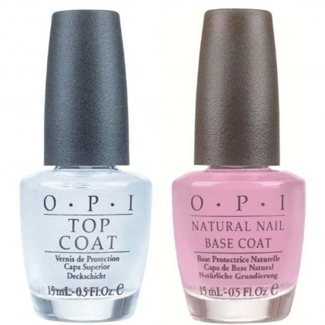 OPI (UNBOXED) Nail Polish Duo - Natural Nail Top Coat & Basecoat x2 15ml