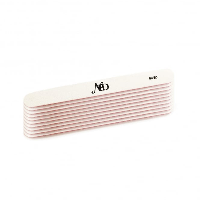 NPD White Polar Professional Straight Nail File 80/80 (Pack of 10)