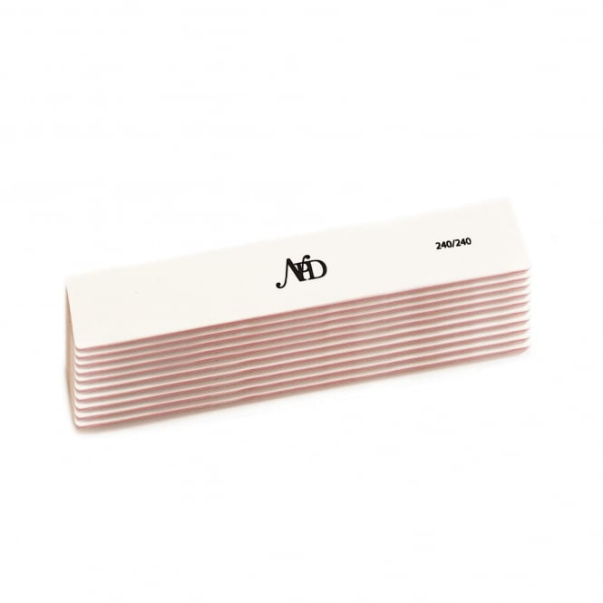 NPD White Polar Rectangle Plus Nail File 240/240 (Pack Of 10)